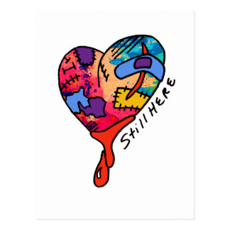Still Here Patchwork Heart of Many Colors Postcard