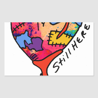Still Here Patchwork Heart of Many Colors Rectangular Sticker