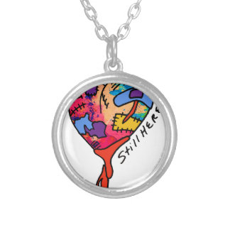 Still Here Patchwork Heart of Many Colors Round Pendant Necklace