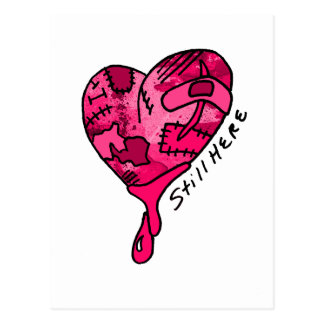 Still Here Pink Patchwork Heart Postcard