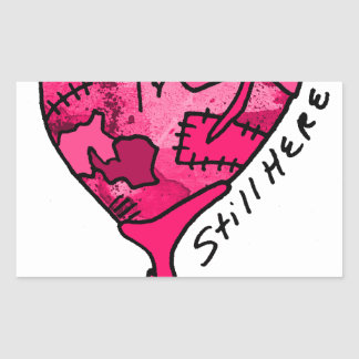 Still Here Pink Patchwork Heart Rectangular Sticker