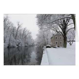 Still House along still water in snow Card