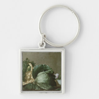 Still Life 3 Silver-Colored Square Key Ring