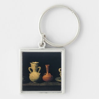 Still Life 4 Silver-Colored Square Key Ring