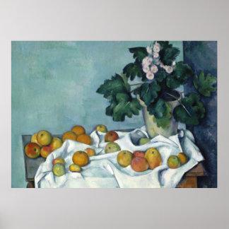 Still Life, Apples & a Pot of Primroses - Cézanne Poster
