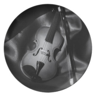 Still-life b&W image of a violin Plate