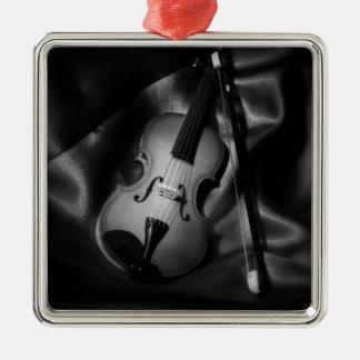 Still-life b&W image of a violin Silver-Colored Square Decoration