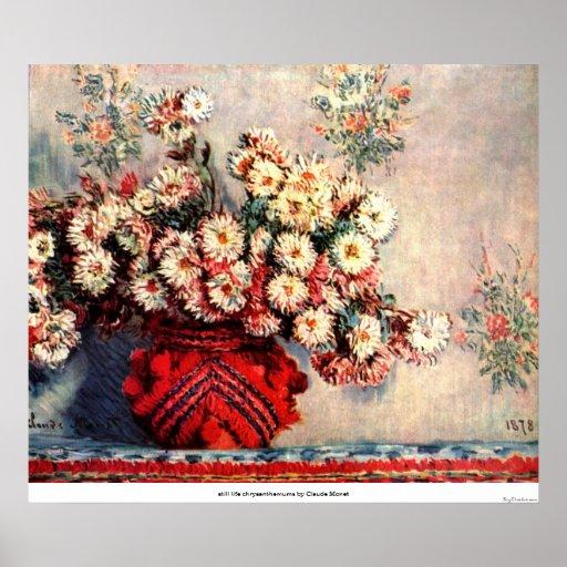 still life chrysanthemums by Claude Monet Poster