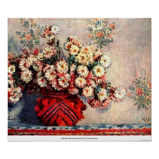 still life chrysanthemums by Claude Monet Poster
