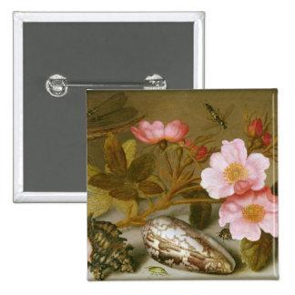 Still life depicting flowers 15 cm square badge