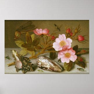 Still life depicting flowers poster