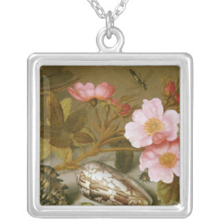 Still life depicting flowers silver plated necklace