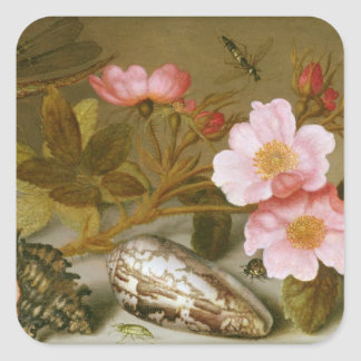 Still life depicting flowers square sticker