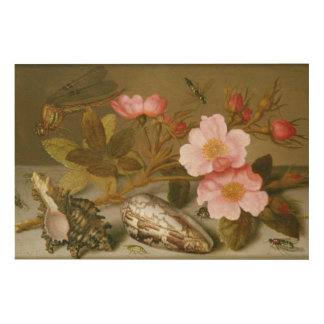 Still life depicting flowers wood print