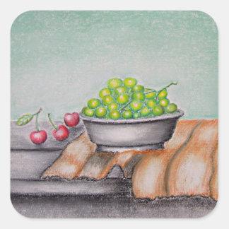 still life fruits square sticker