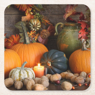 Still Life Harvest  Decoration For Thanksgiving Square Paper Coaster