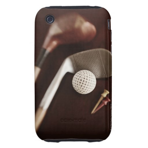 Still life if vintage golf clubs, tees and ball. iPhone 3 tough cases