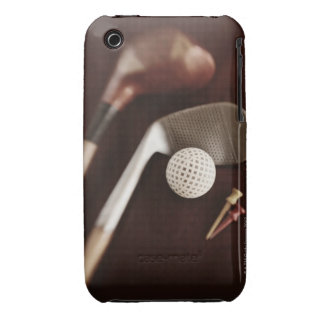 Still life if vintage golf clubs, tees and ball. iPhone 3 cover