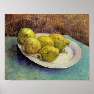 Still Life Lemons on Plate Van Gogh Fine Art Poster
