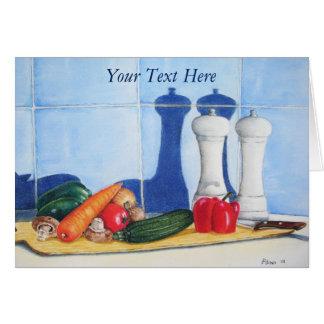 still life mixed vegetable prep painting original card