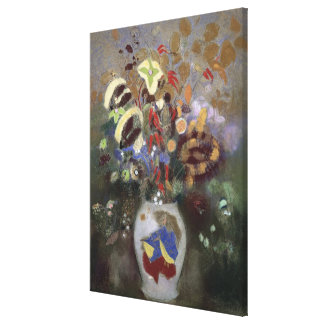 Still Life of a Vase of Flowers (pastel on paper) Canvas Print