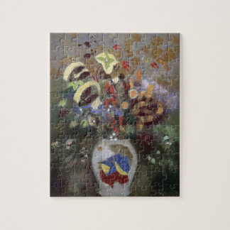Still Life of a Vase of Flowers (pastel on paper) Jigsaw Puzzle