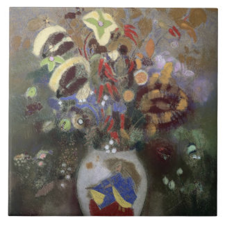 Still Life of a Vase of Flowers (pastel on paper) Large Square Tile
