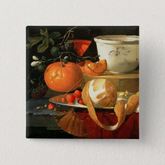 Still life of an orange 15 cm square badge