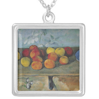 Still life of apples and biscuits, 1880-82 silver plated necklace