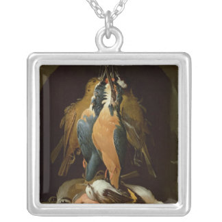 Still life of birds silver plated necklace