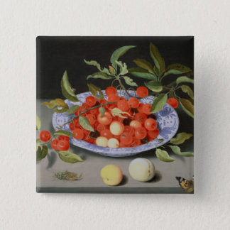 Still Life of Cherries and Peaches 15 Cm Square Badge
