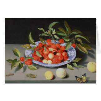 Still Life of Cherries and Peaches Card