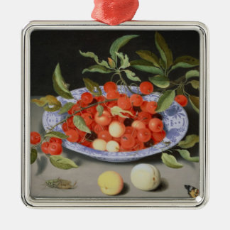 Still Life of Cherries and Peaches Silver-Colored Square Decoration