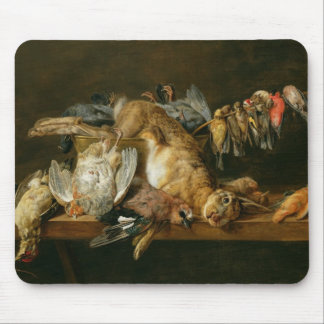 Still life of dead birds and a hare on a table mouse pad