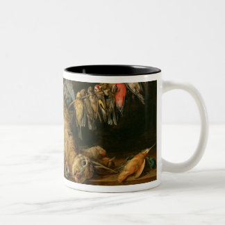 Still life of dead birds and a hare on a table coffee mugs
