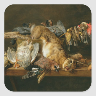 Still life of dead birds and a hare on a table square sticker