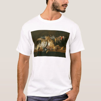 Still life of dead birds and a hare on a table T-Shirt