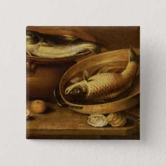 Still Life of Fish and Lemons 15 Cm Square Badge