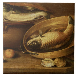 Still Life of Fish and Lemons Tile