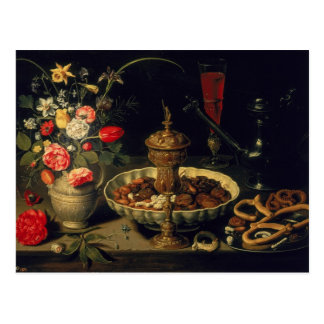 Still Life of Flowers and Dried Fruit, 1611 Postcard