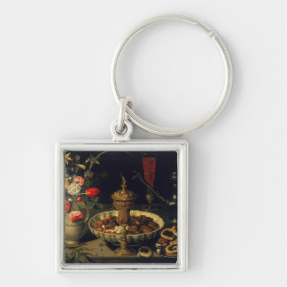 Still Life of Flowers and Dried Fruit, 1611 Silver-Colored Square Key Ring
