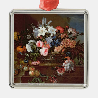 Still Life of Flowers in a Basket Christmas Ornament