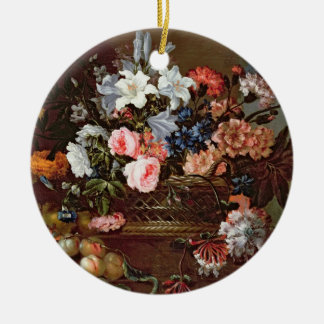 Still Life of Flowers in a Basket Round Ceramic Decoration