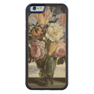 Still life of flowers in a drinking glass carved maple iPhone 6 bumper case