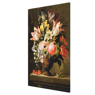 Still Life of Flowers in a Vase with a Lizard on a Canvas Print