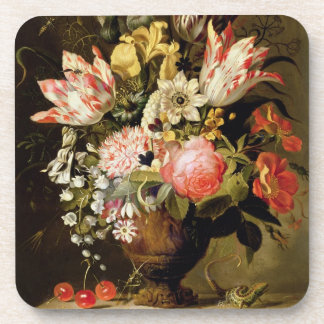 Still Life of Flowers in a Vase with a Lizard on a Coaster