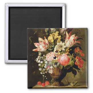 Still Life of Flowers in a Vase with a Lizard on a Magnet