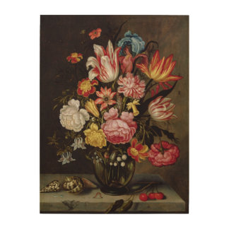 Still Life of Flowers in an Ovoid Vase Wood Print