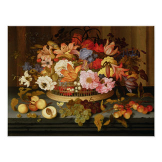 Still Life of Fruit and a Basket of Flowers Poster