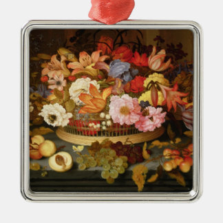 Still Life of Fruit and a Basket of Flowers Silver-Colored Square Decoration